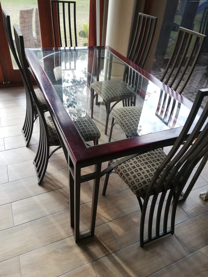 Beautiful metal and glass Dining Room set