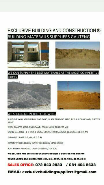 STOCK BRICKS,STONE,SAND,cement,face bricks,maxi bricks,plaster sand,crusher mix
