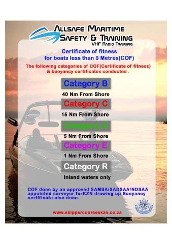 Certificate of Fitness (COF) for vessels less than 9 metres