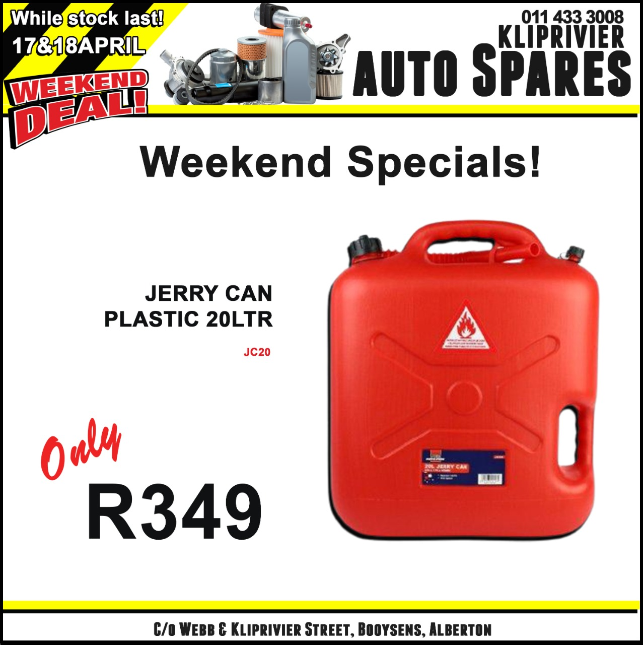 Jerry Can Plastic 20 Liter ONLY at Kliprivier AUTO Spares!