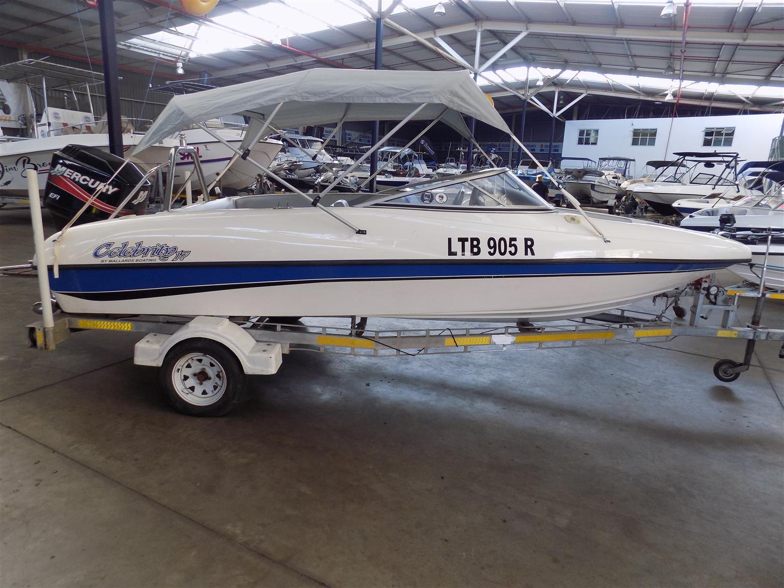 celebrity 170 on trailer 150 hp mercury efi