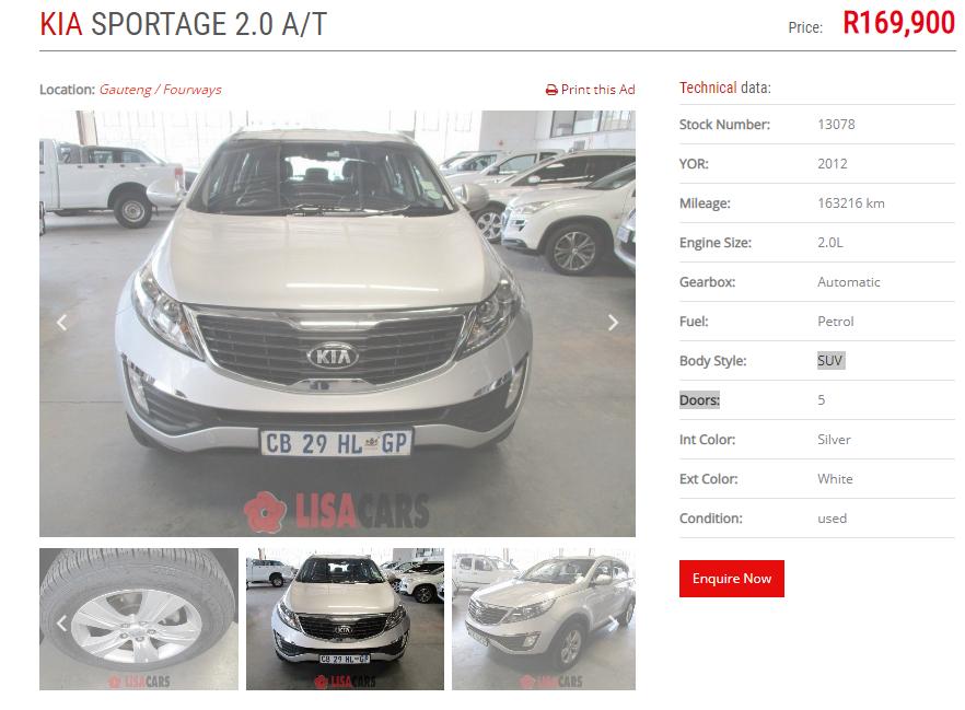 2012 Kia Sportage 2.0 auto