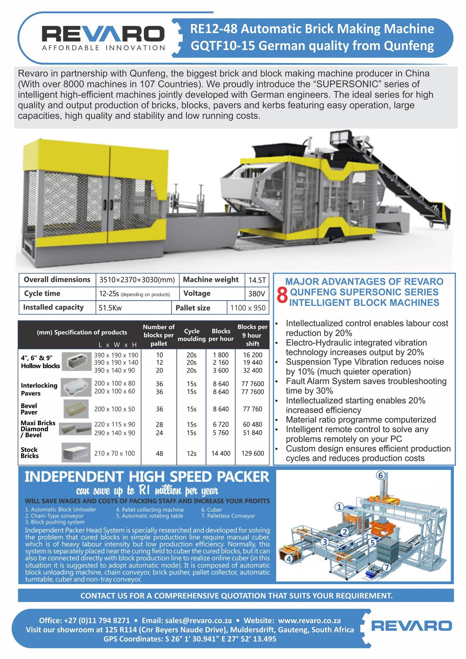 Brick making machine Revaro RE5-20 static, hydraulic fully automatic brick making machine Affordable produce 43000 stocks per day