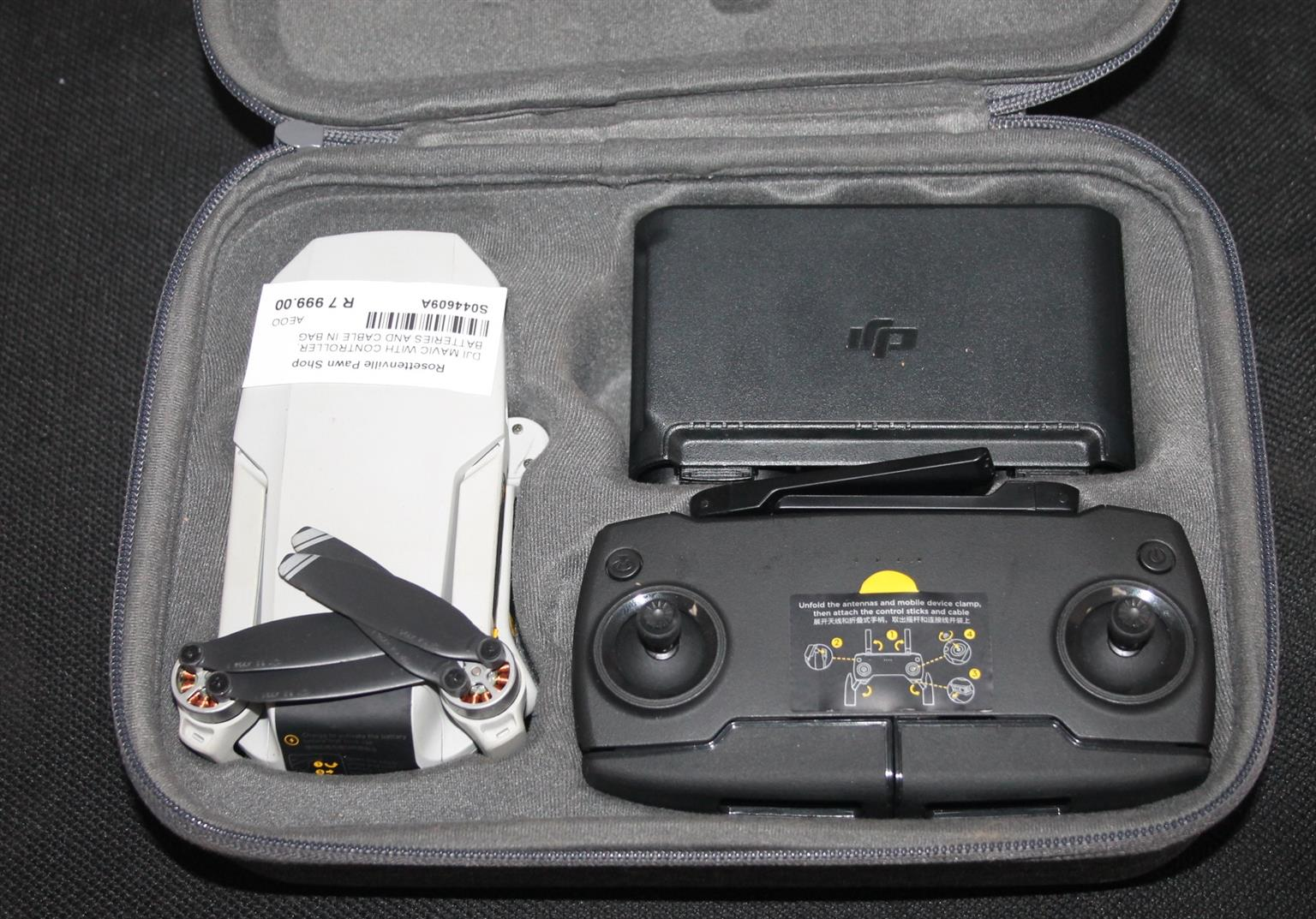 dji mavic with controller battries and cables in bag S044609A
