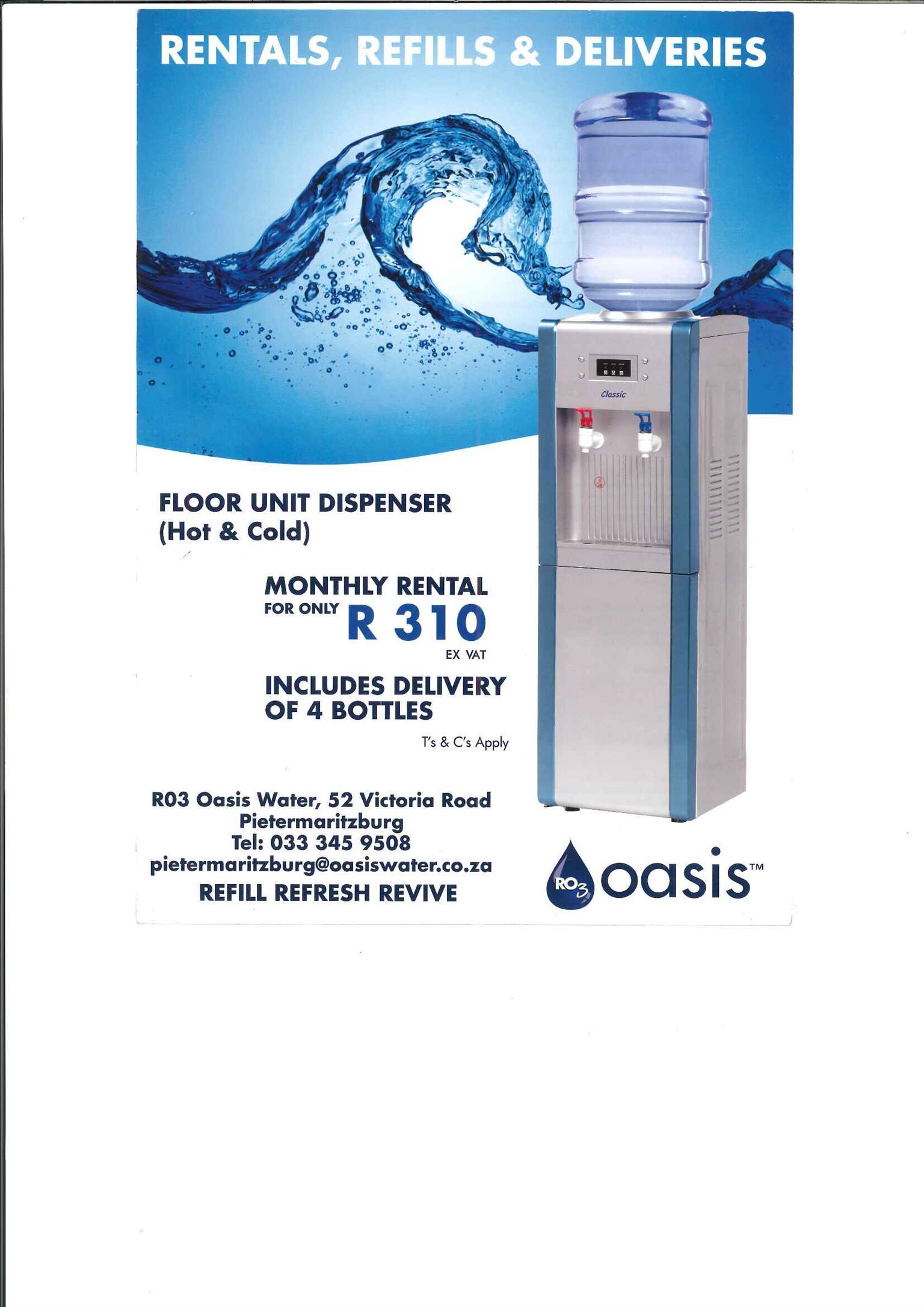 Oasis Water Pietermaritzburg, Cold and Hot Water Floor Unit Dispenser