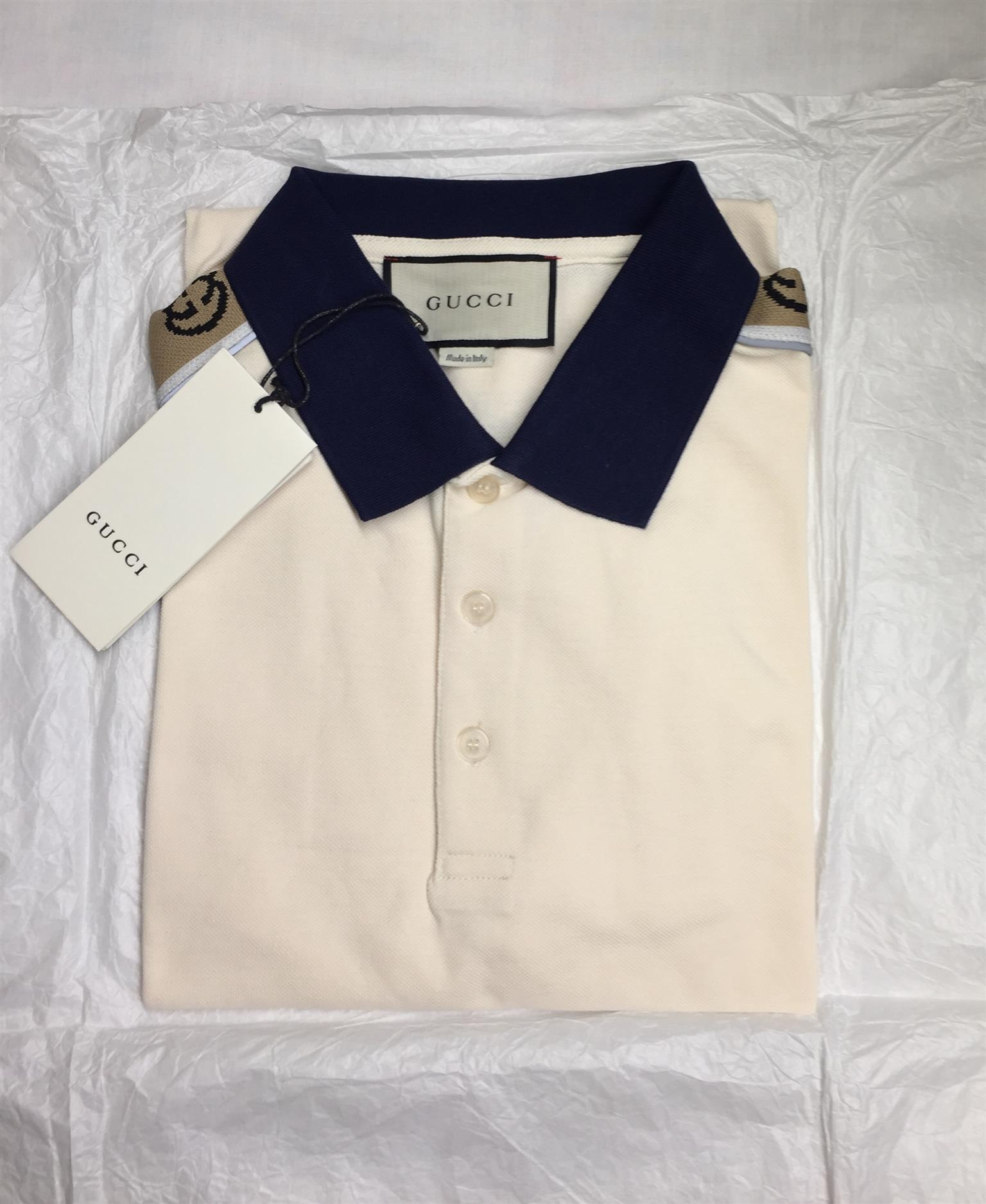 G U C C I  Mens Polo Shirts—GG Monogram Stripes, Size (M), Ivory Colour