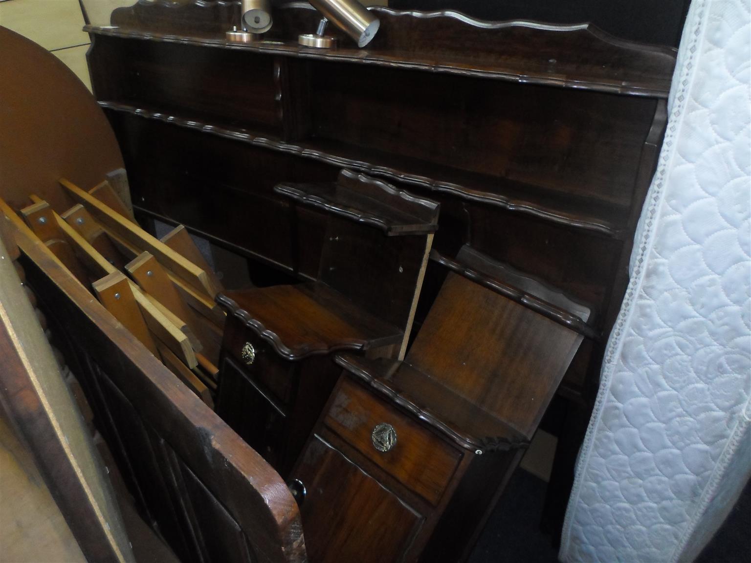 Wooden Double Bed Headboard + 2 Pedestals