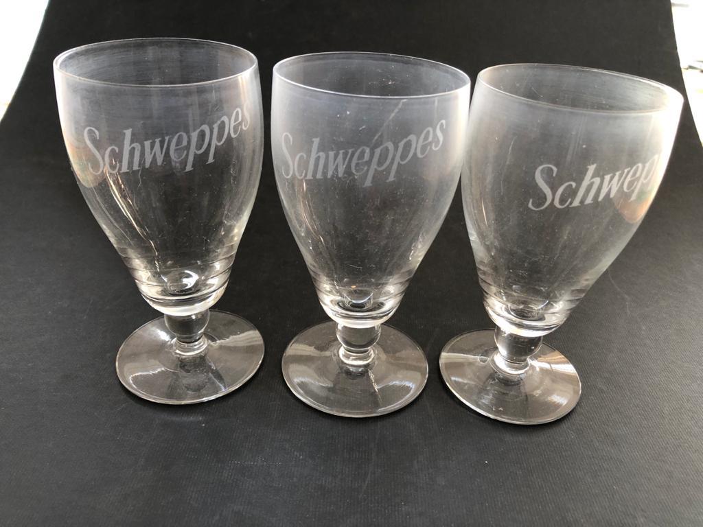 A set of 3 Schweppes branded glasses