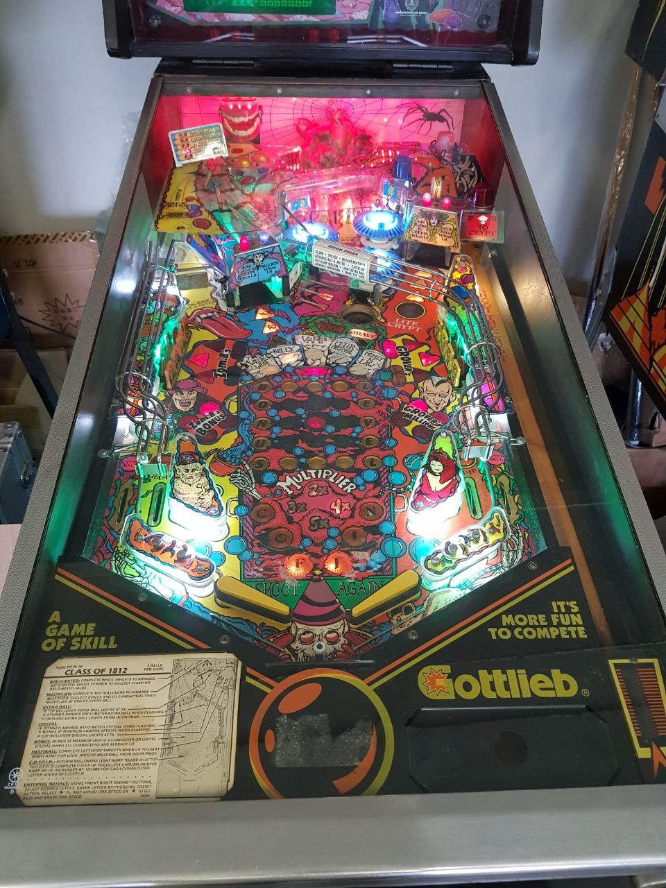 Class of 1812 Pinball Machine by Gottlieb available for sale