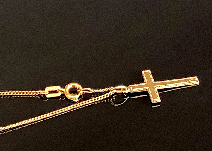 VINTAGE 9 CT SOLID GOLD CURB LINK NECKLACE CHAIN AND CROSS