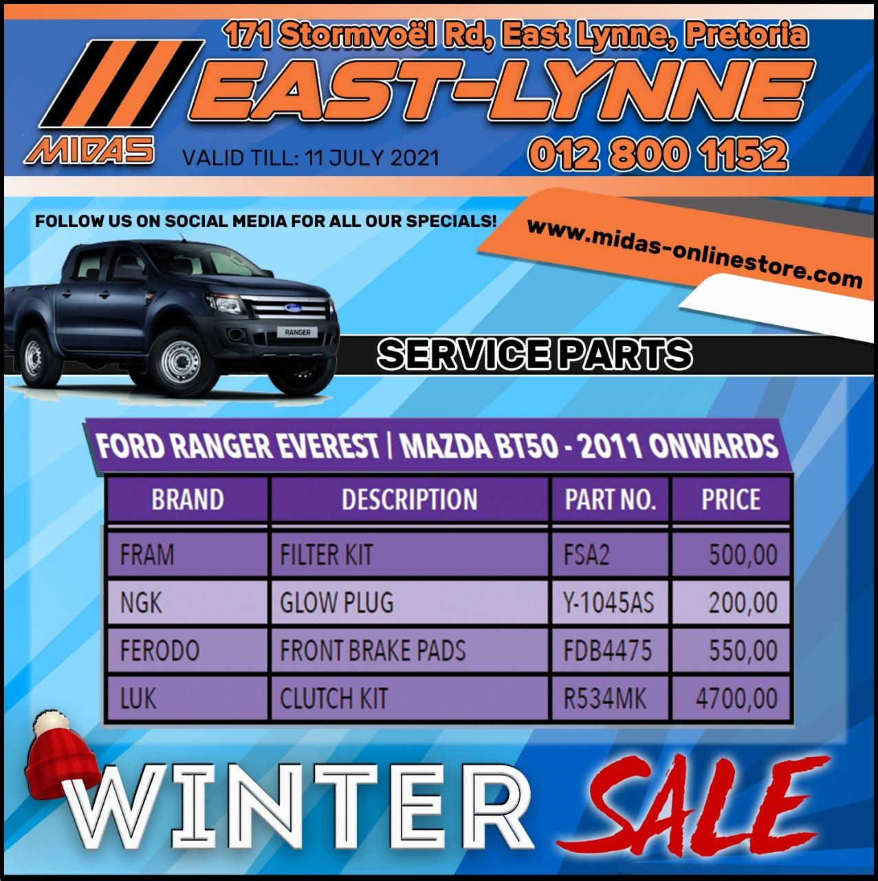 Ford Ranger Everest / Mazda BT50 - 2011 onwards Service Parts!