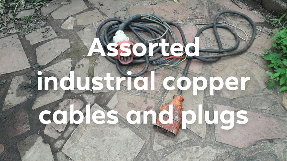 Assorted industrial heavy duty copper power cables and plugs