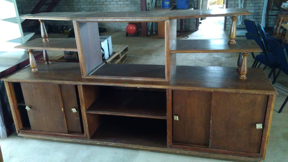 Large wooden compartment tv stand for sale