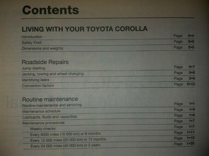Toyota Corolla - Sept 1987 to Aug 1992 (E to K registration) - Haynes.