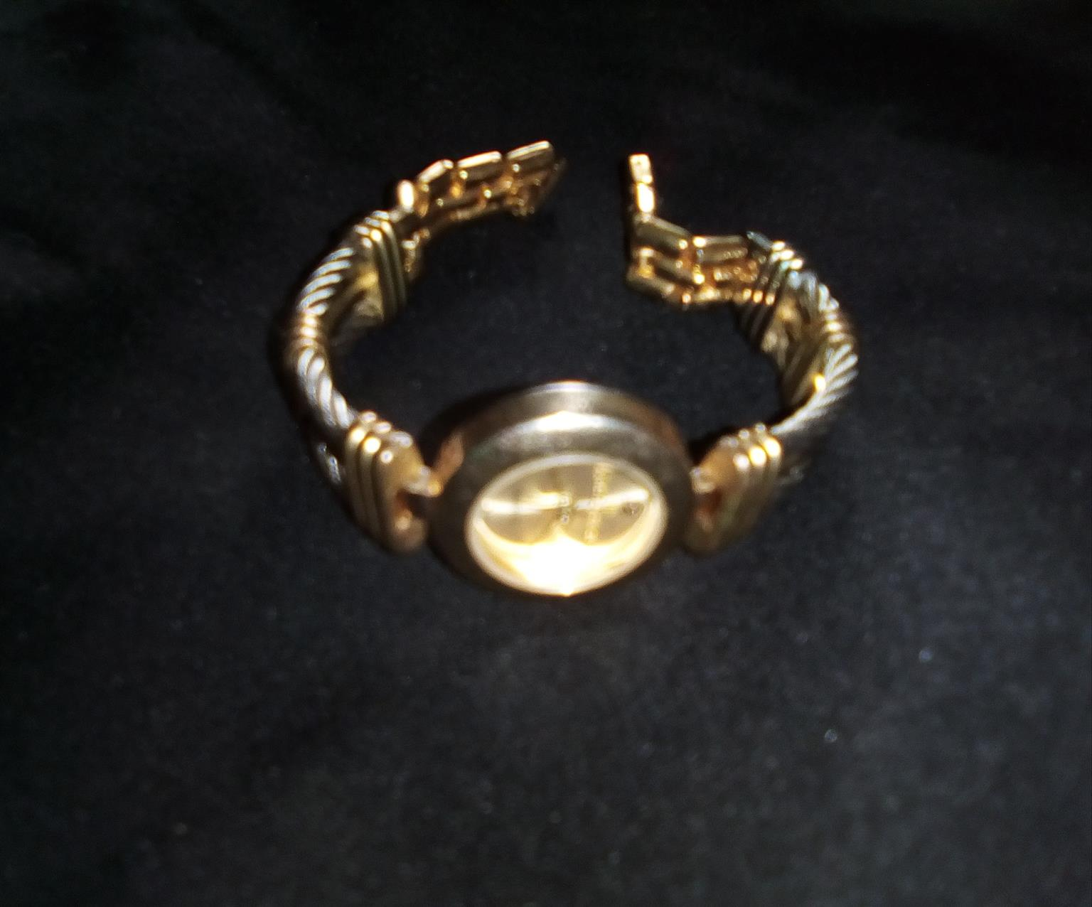 Silver and gold women watch