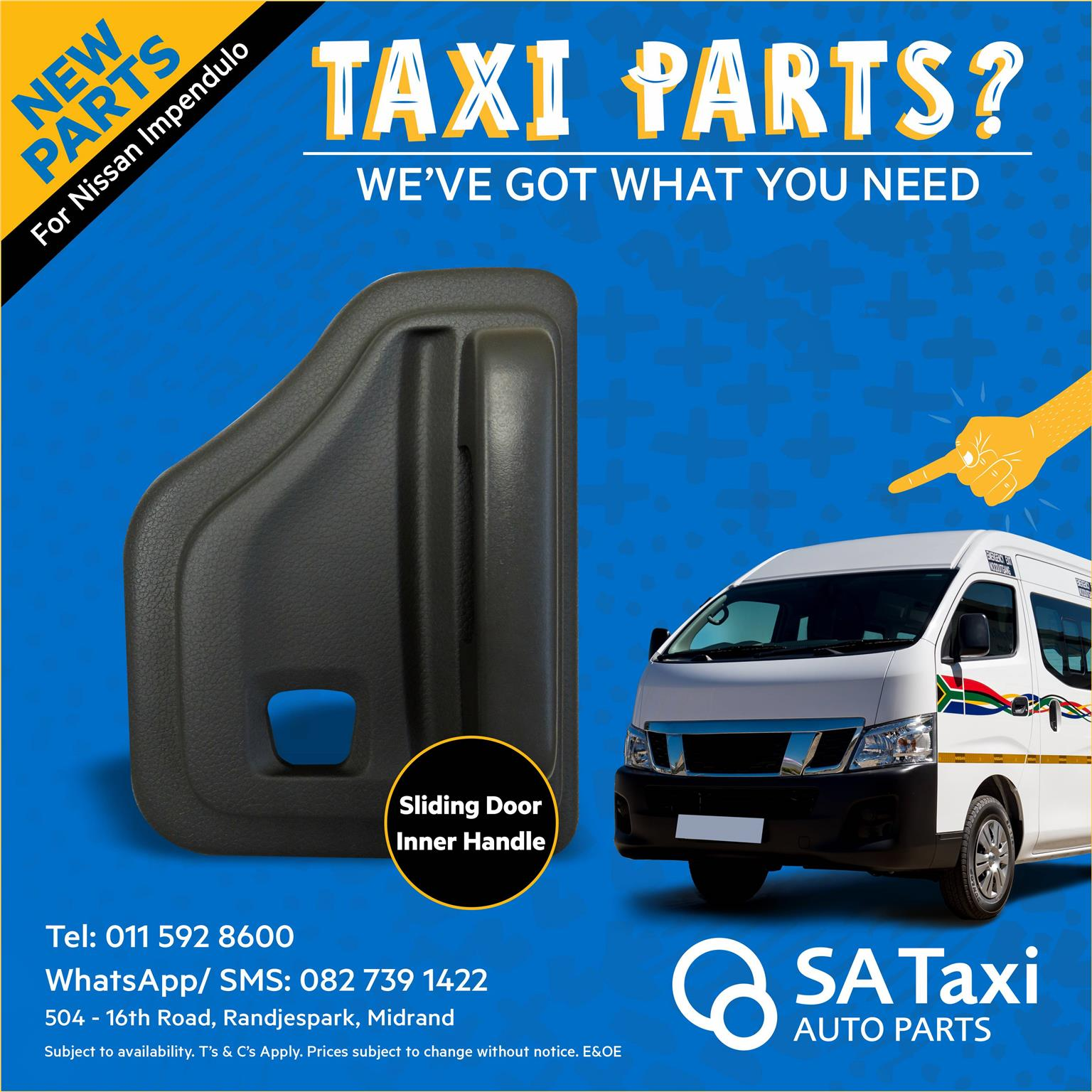 NEW Sliding Door Inner Handle suitable for Nissan Impendulo - SA Taxi Auto Parts quality new spares