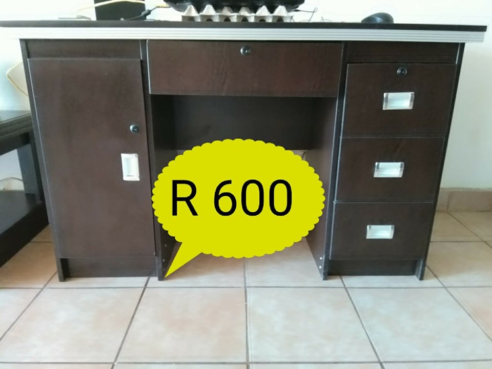 3 Drawer dark wooden desk for sale