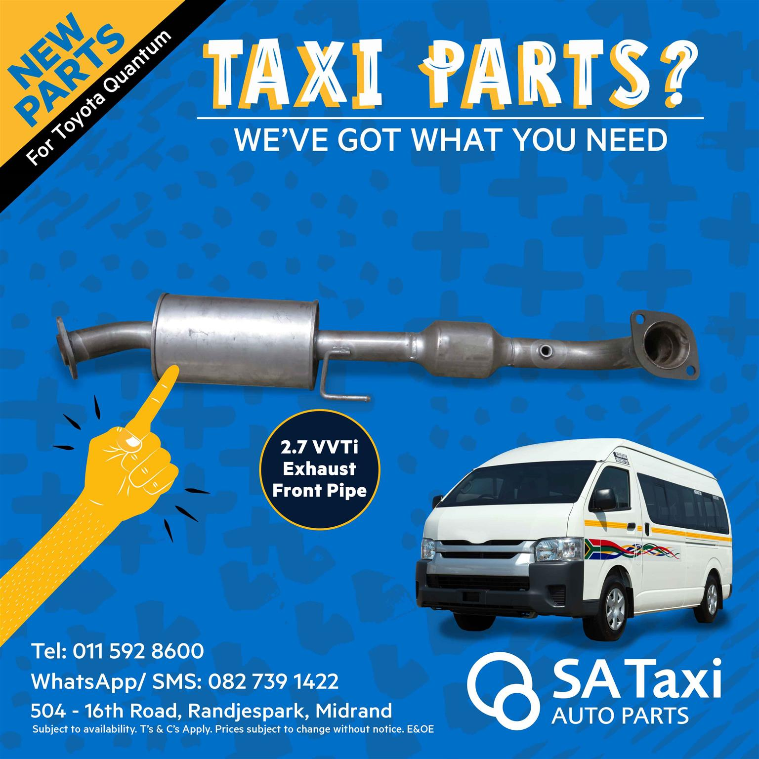 New Exhaust Front Pipe for Toyota Quantum 2.7 VVTi