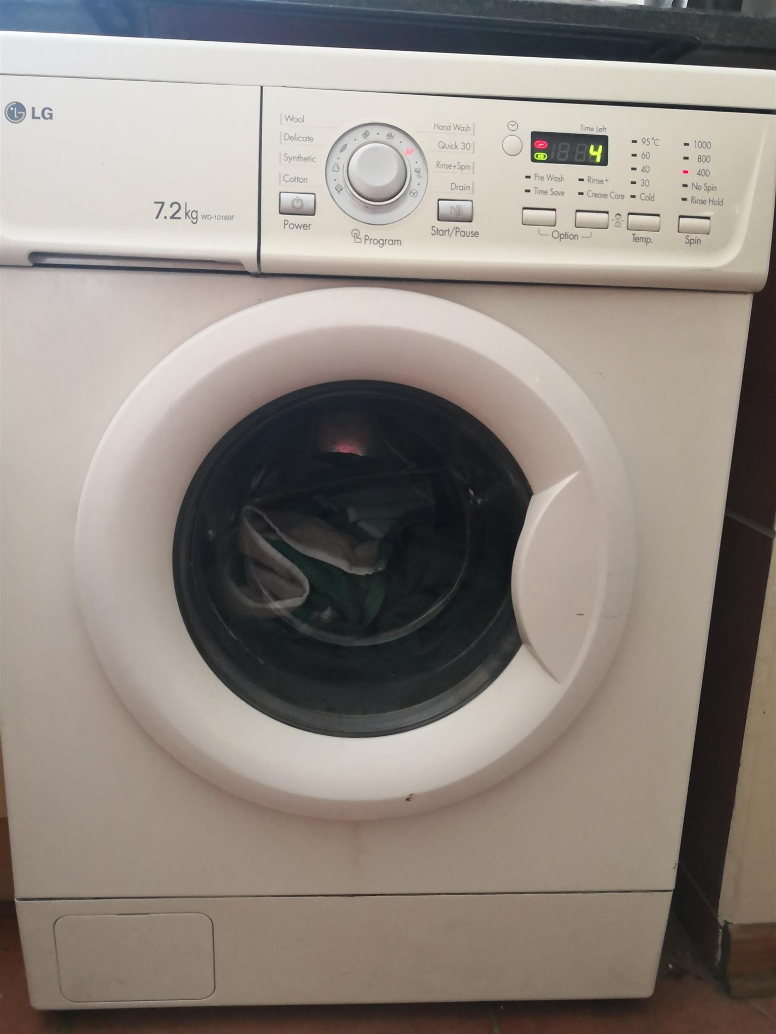 front loader washing machine 7.2kg working order