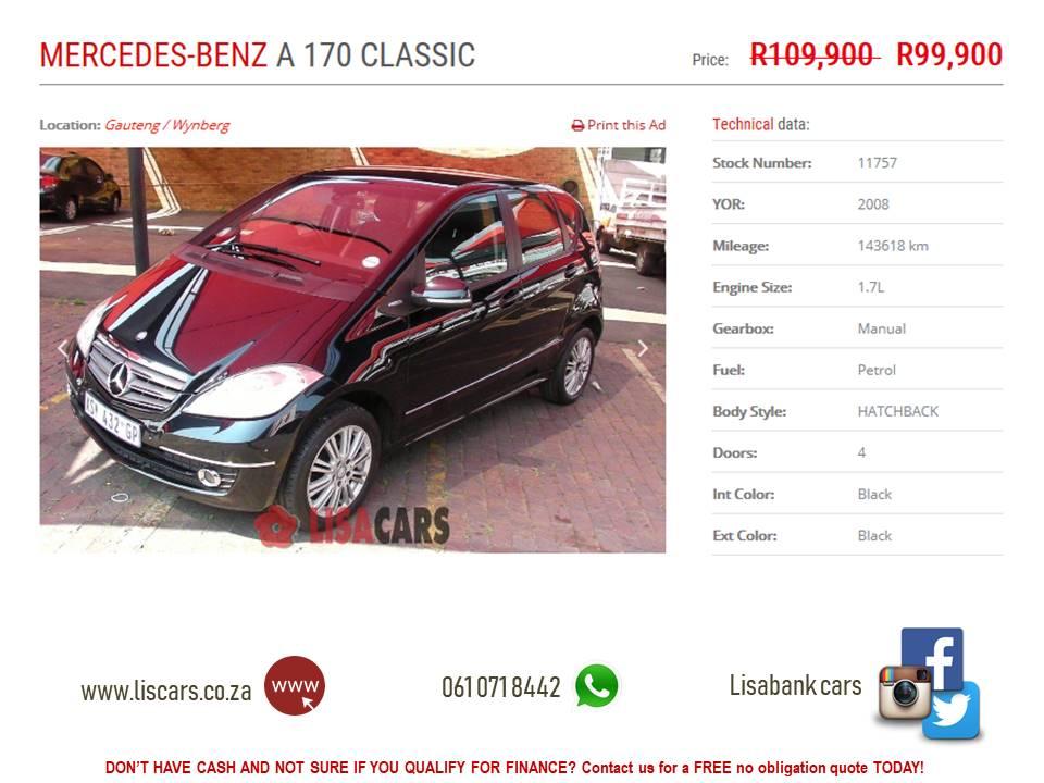 2008 Mercedes Benz A Class A 170 CLASSIC