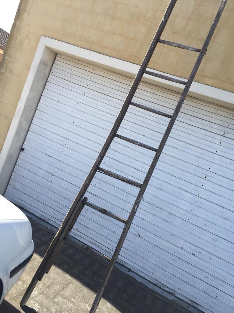 Tall Antique Oregon wood Post Office ladder