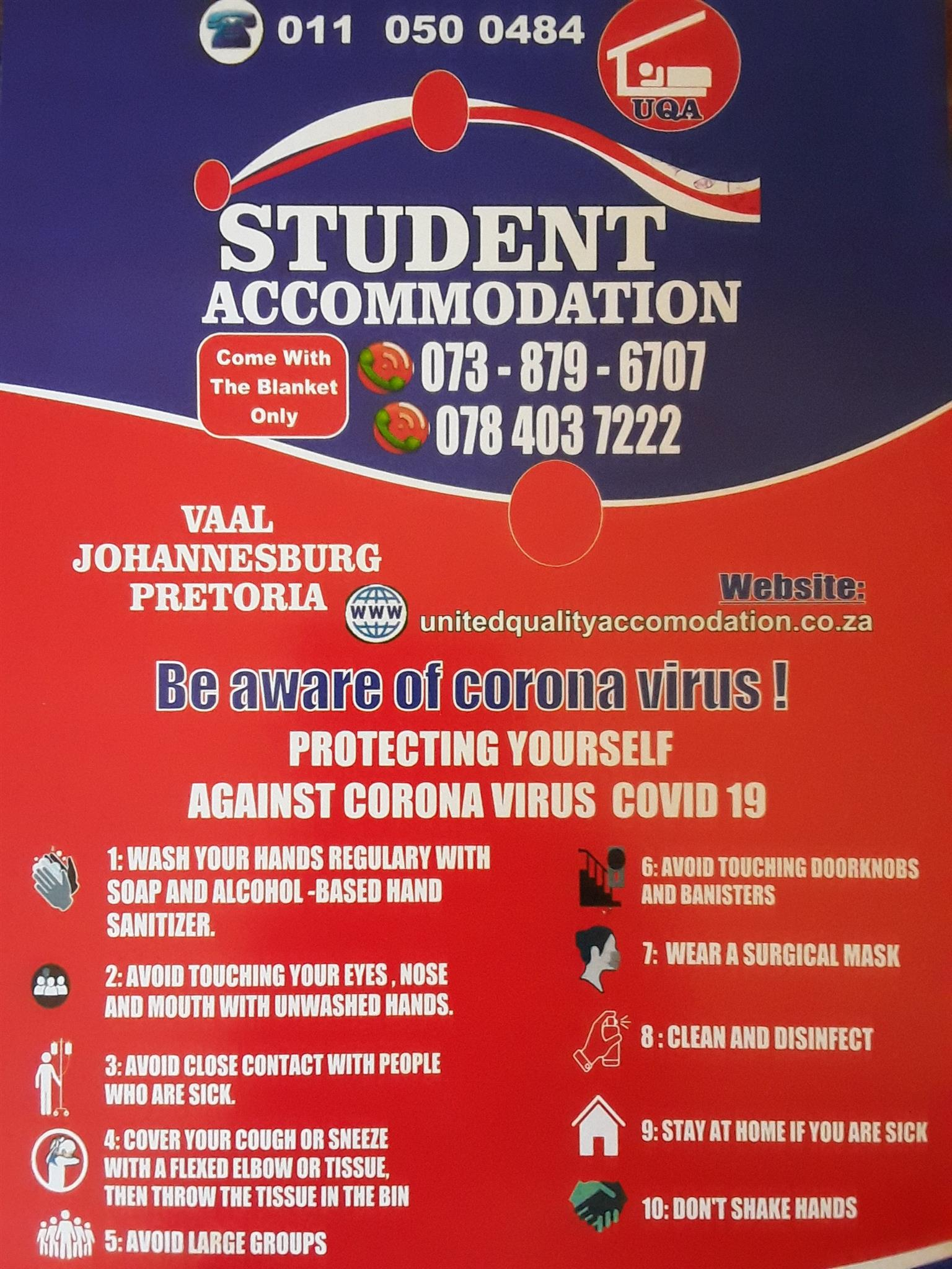 Student Accommodation in Johannesburg for all prospective students for this year and next year