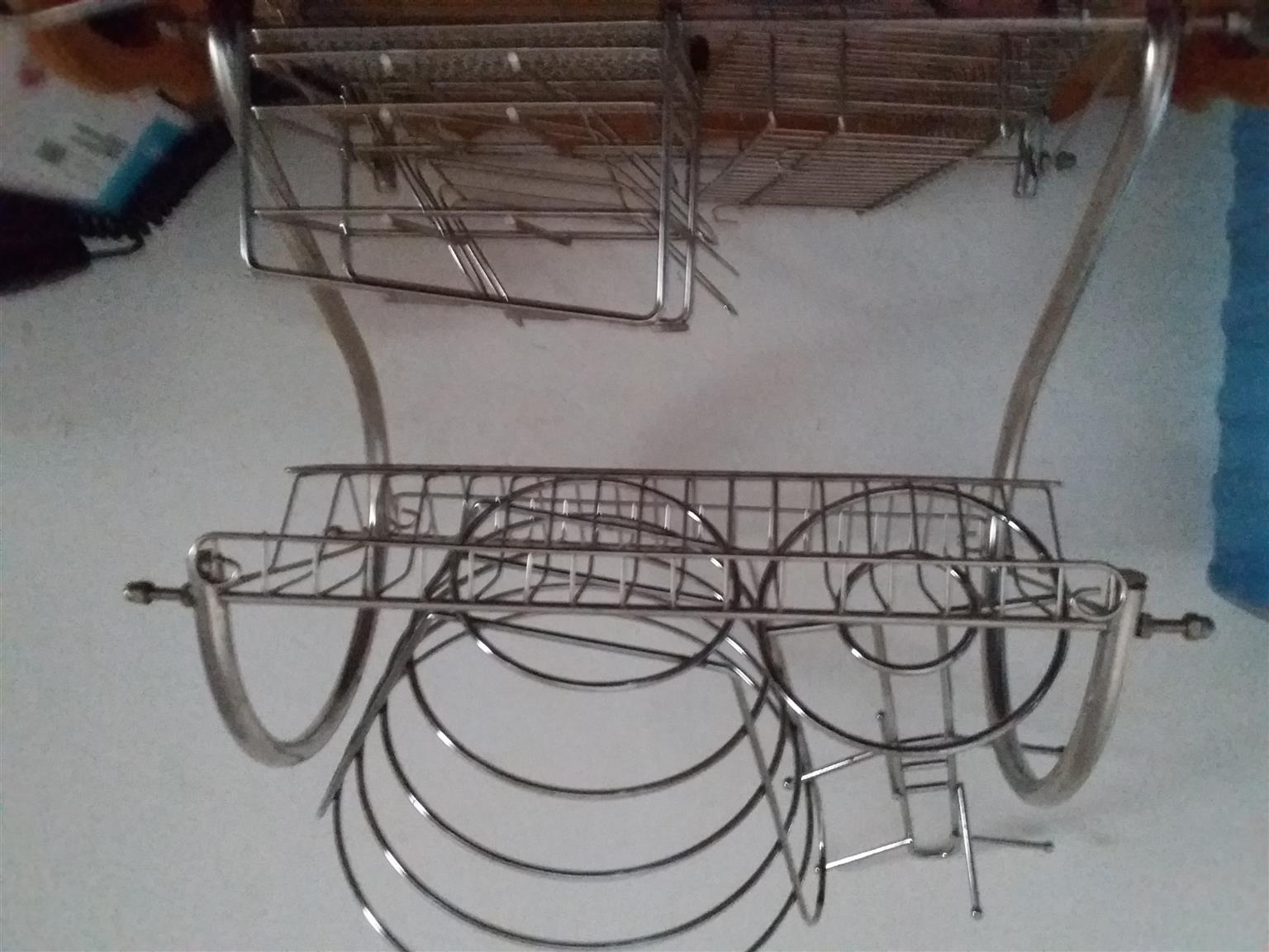 Various stainless steel apparatus for kitchen plus bath caddy