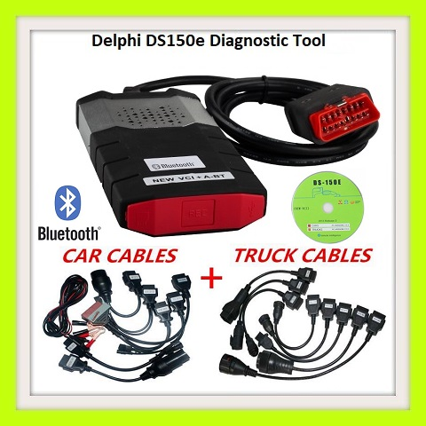 OBD2 Diagnostic Bluetooth Delphi DS150E with Car, Truck  Adapters and comes in a case