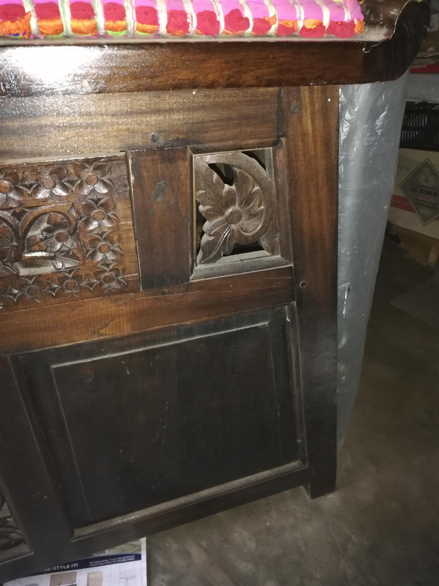 Hand-carved Sideboard and 4 Poster Queen size bed