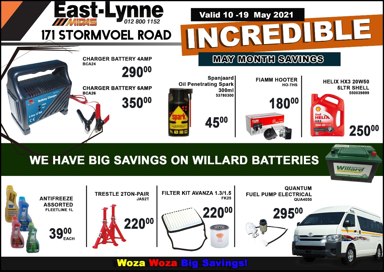 Incredible May Month Savings Now On at East-Lynne MIDAS!