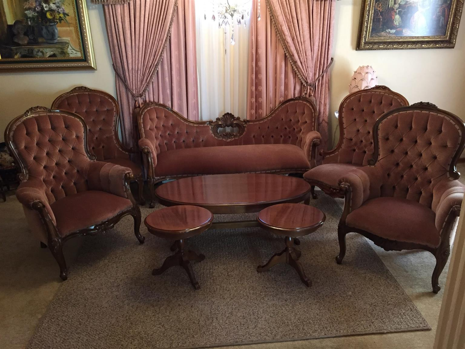 Victorian Living Room Set Chairs Coffee Table