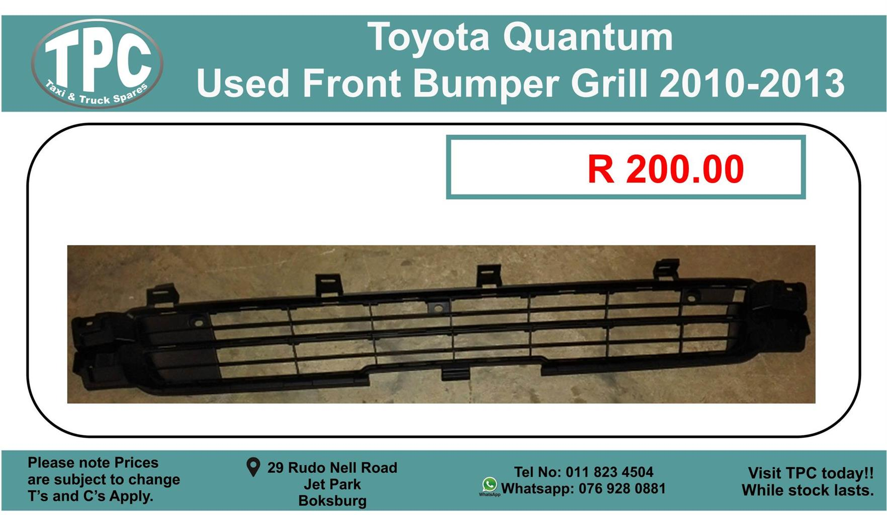 Toyota Quantum Used Front Bumper Grill 2010-2013 For Sale.