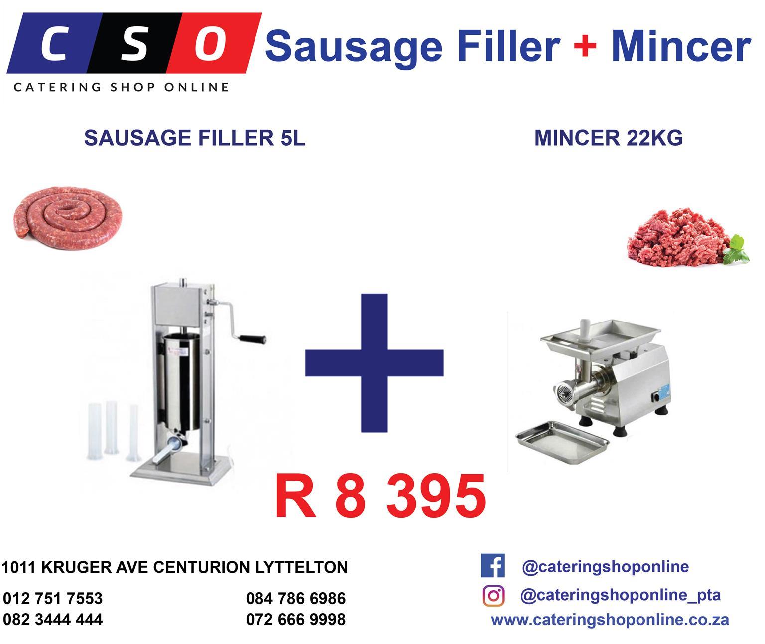 Sausage Filler 5L  plus Mincer 22KG Combo Special R8 395