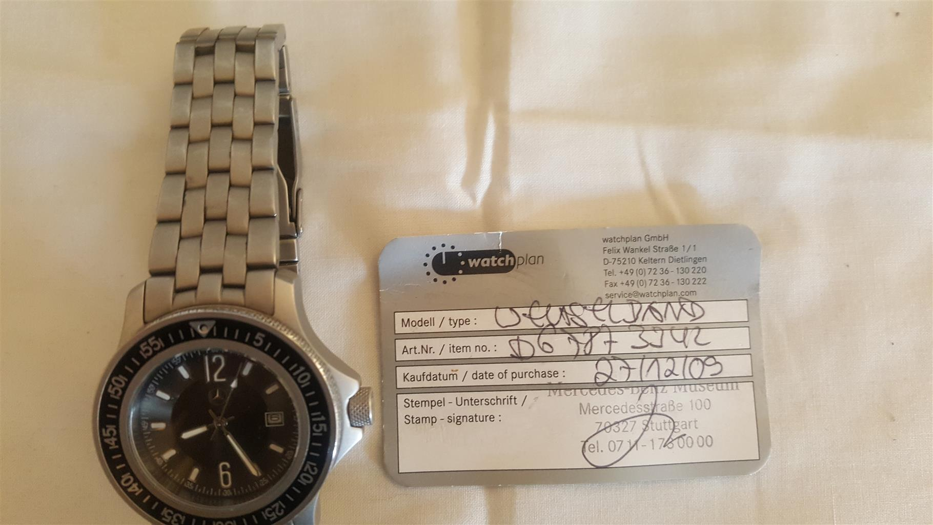 Original Mercedes Benz watch in casing with certificate