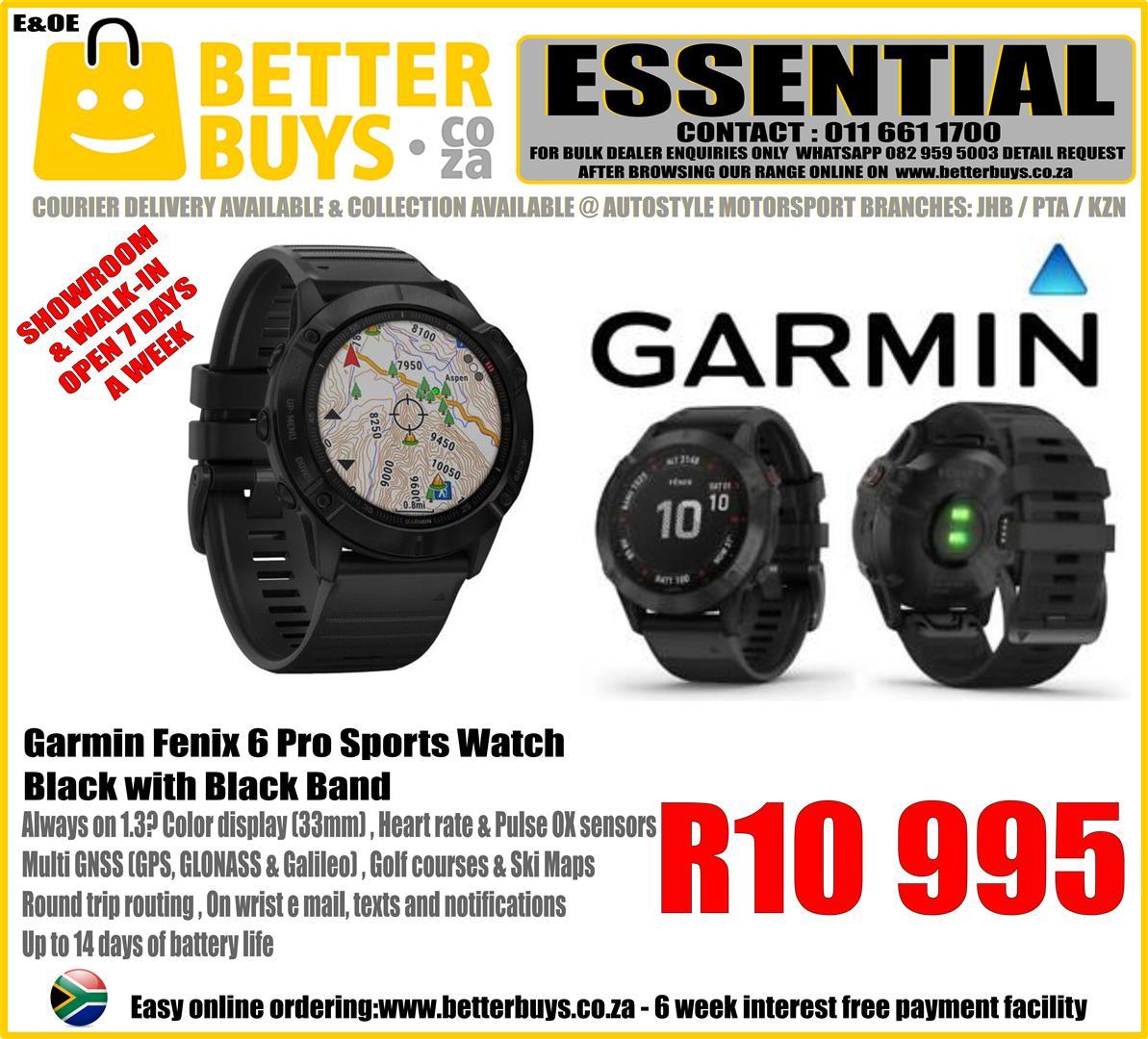 Garmin Fenix 6 Pro Sports Watch – Black with Black Band