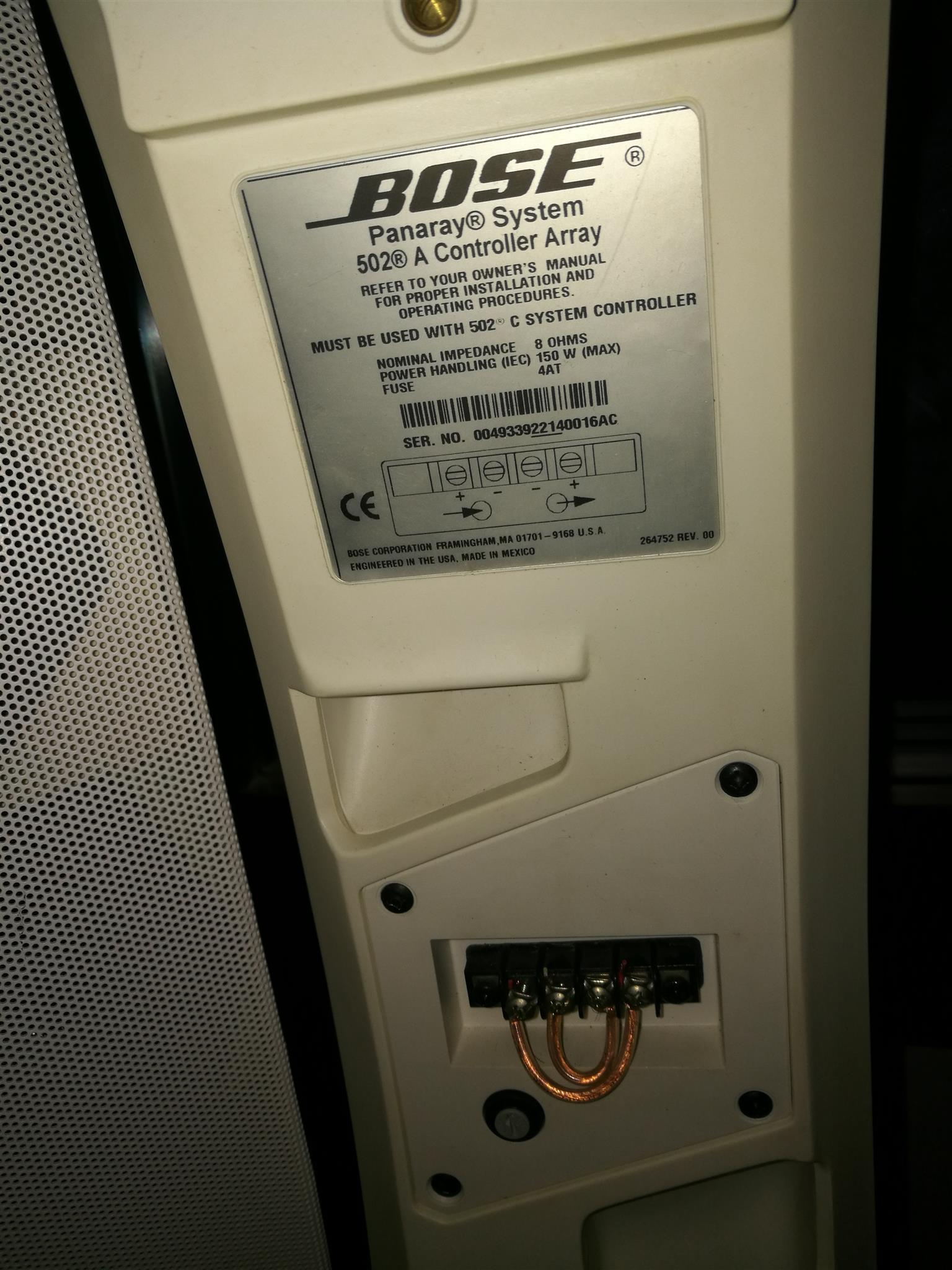 Bose Panaray 502A speakers x3