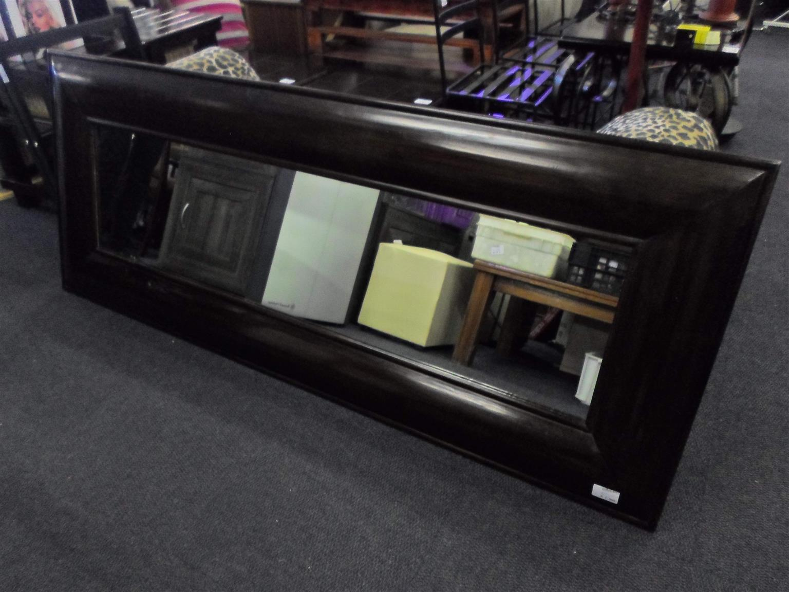 Wooden Framed Rectangular Mirror