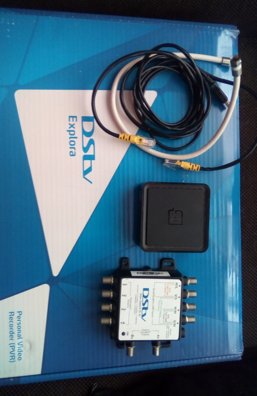 DStv decoder, switch and WiFi connector.