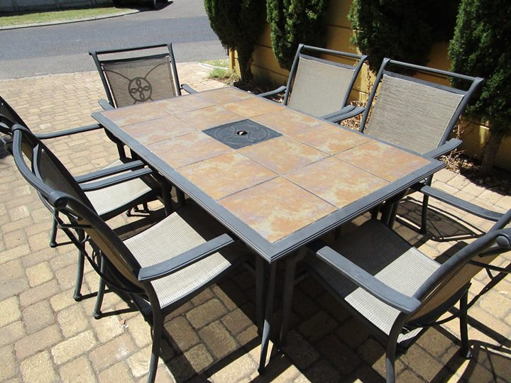 ALUMINIUM PATIO / POOL / GARDEN SET WITH 6 ALUMINIUM CHAIRS