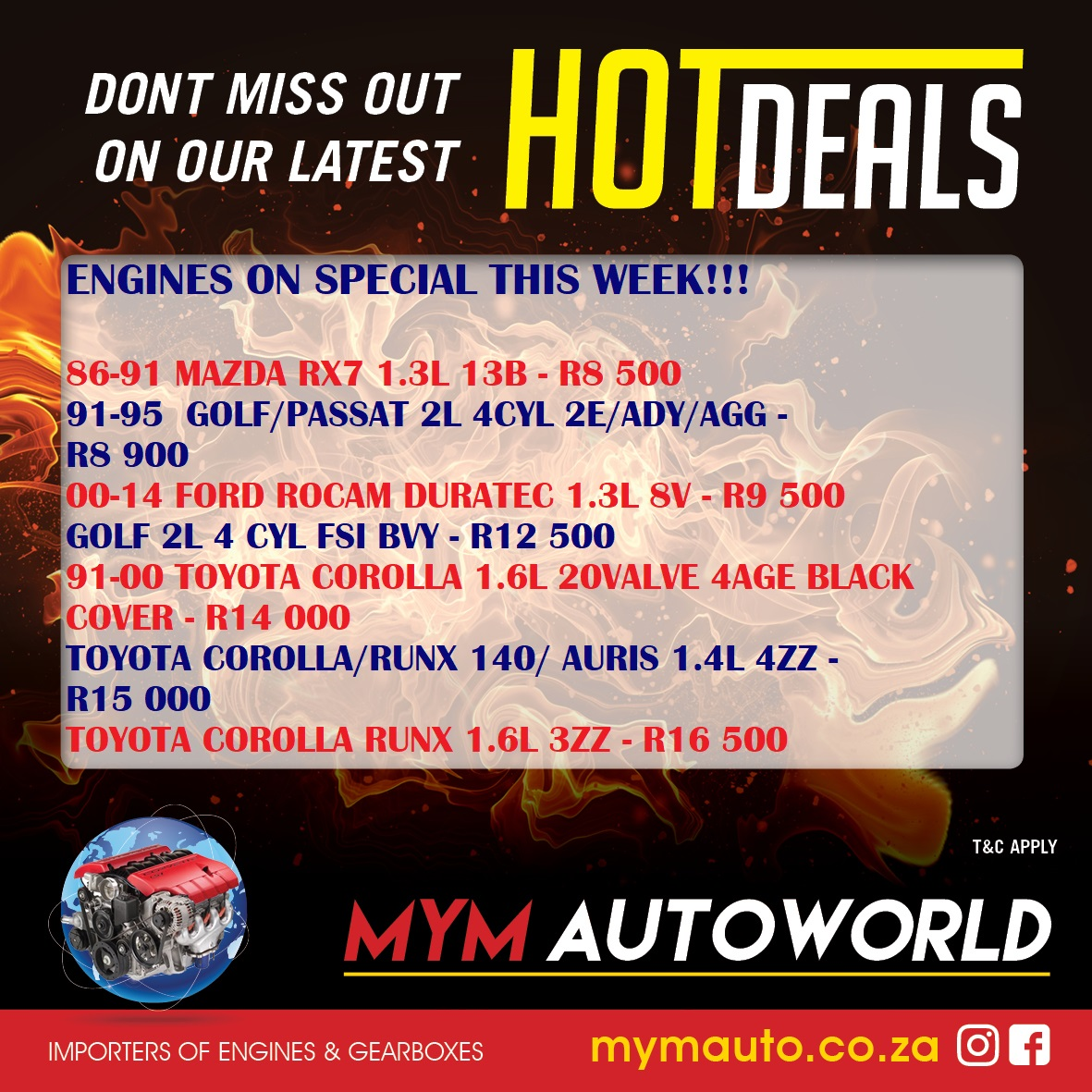 MYM AUTOWORLD WEEKLY SPECIALS AVAILABLE THIS WEEK