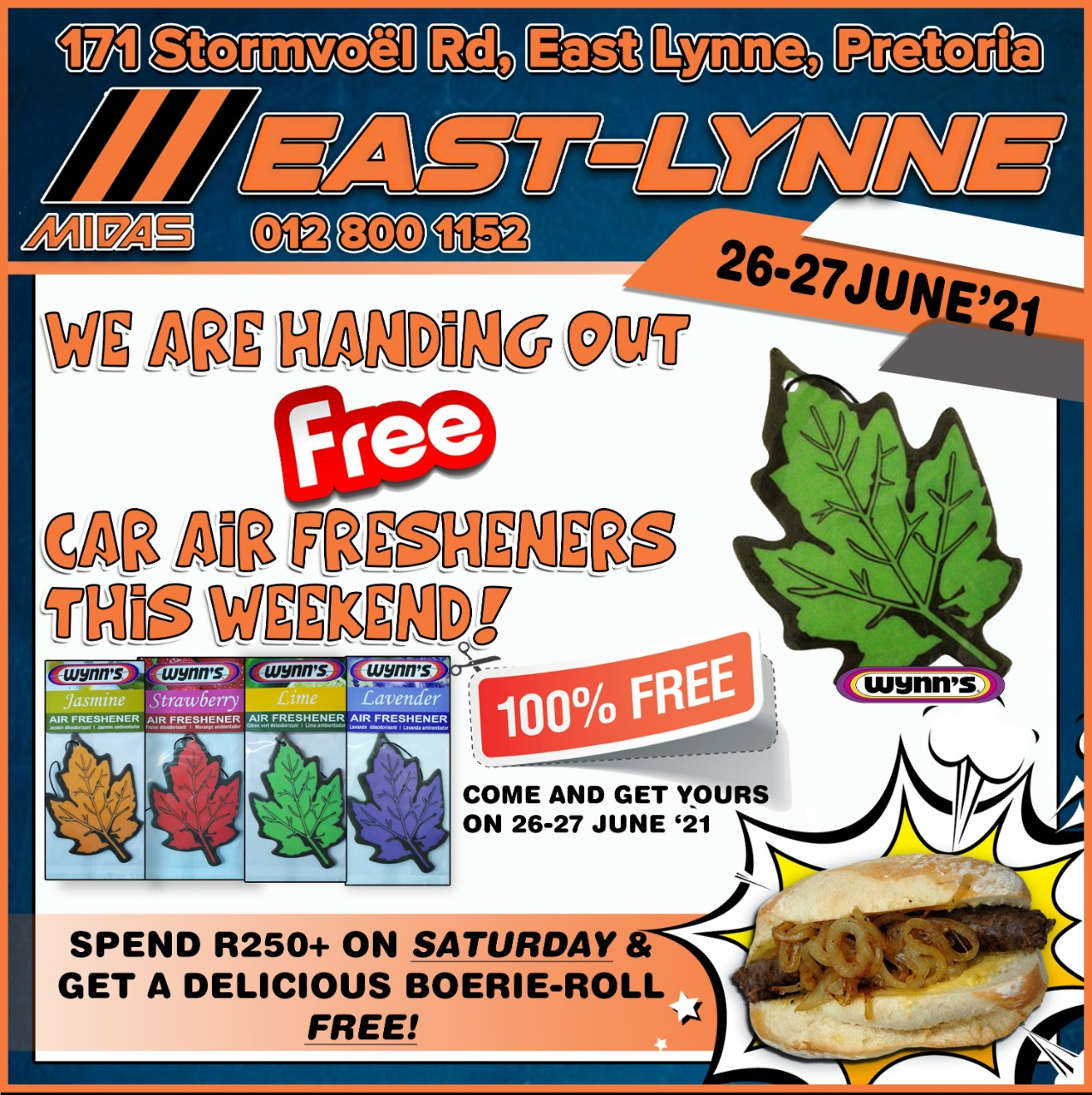 We are handing out FREE car air fresheners on 26 & 27 June!