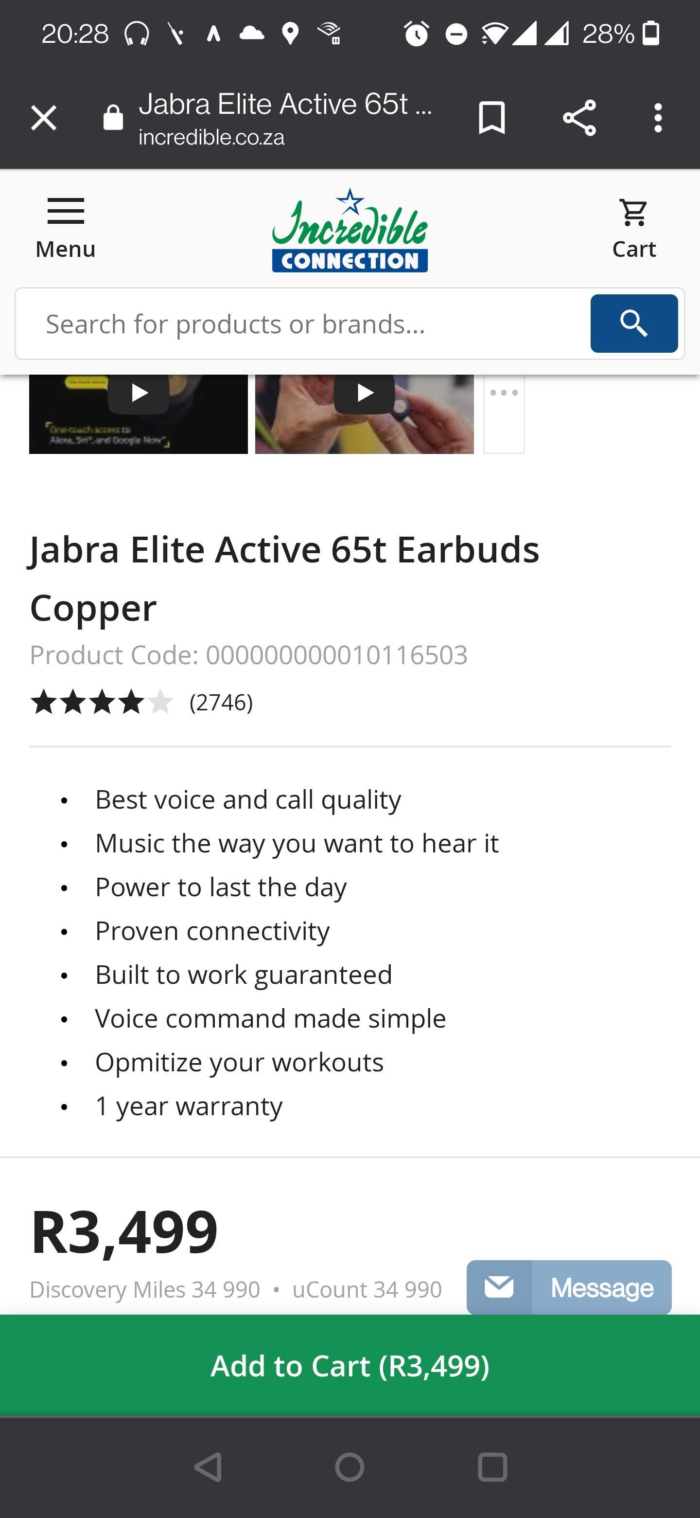 Jabra Elite Active 65t Bluetooth headphones