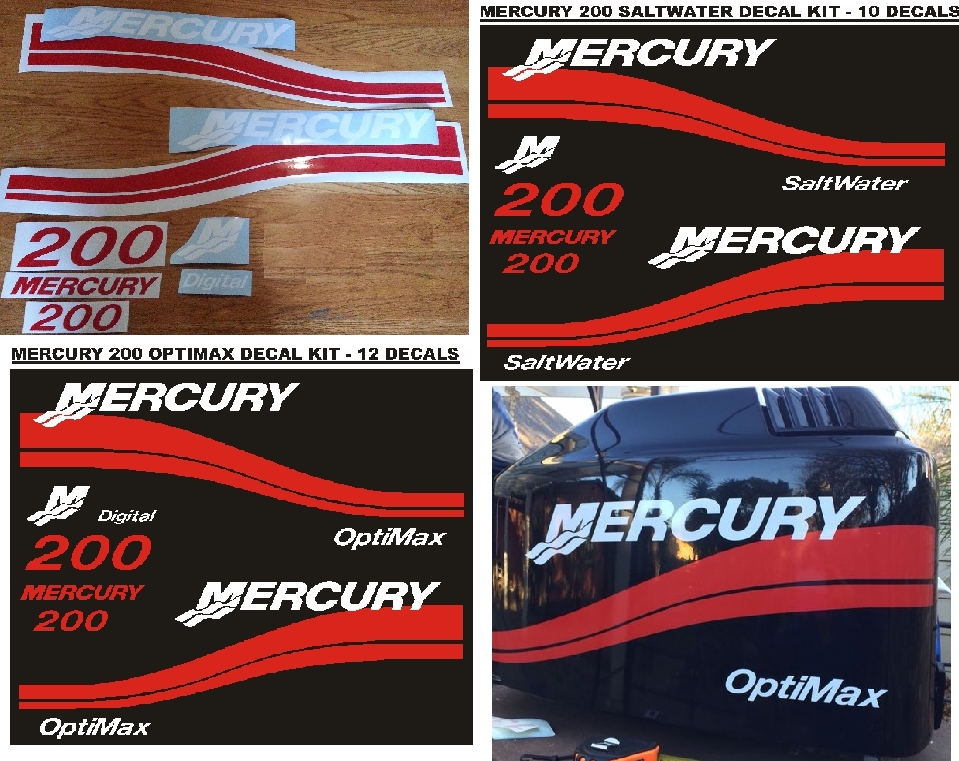 Mercury 125 outboard motor cowl decals stickers vinyl cut graphics kits