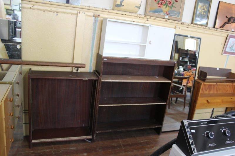 White and dark wooden shelves
