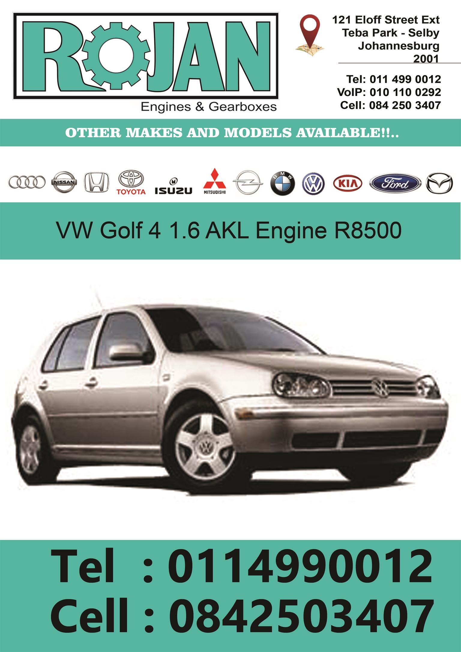 VW AKL  COMPLETE IMPORT LOW MILEAGE ENGINES