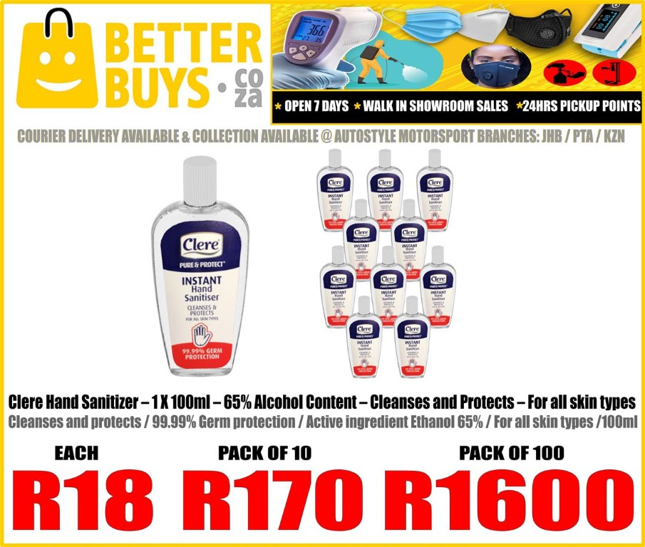 Clere Hand Sanitizer – 1 X 100ml – 65% Alcohol Content