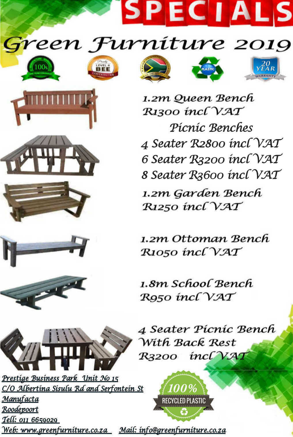 100% Recycled Platic Outdoor Furniture