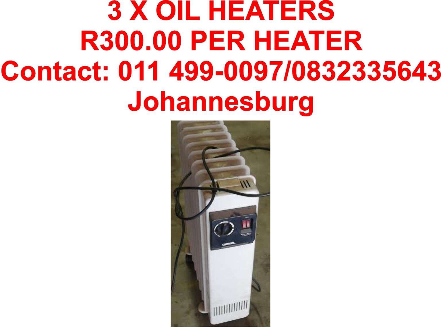 3 x Oil Heaters for Sale