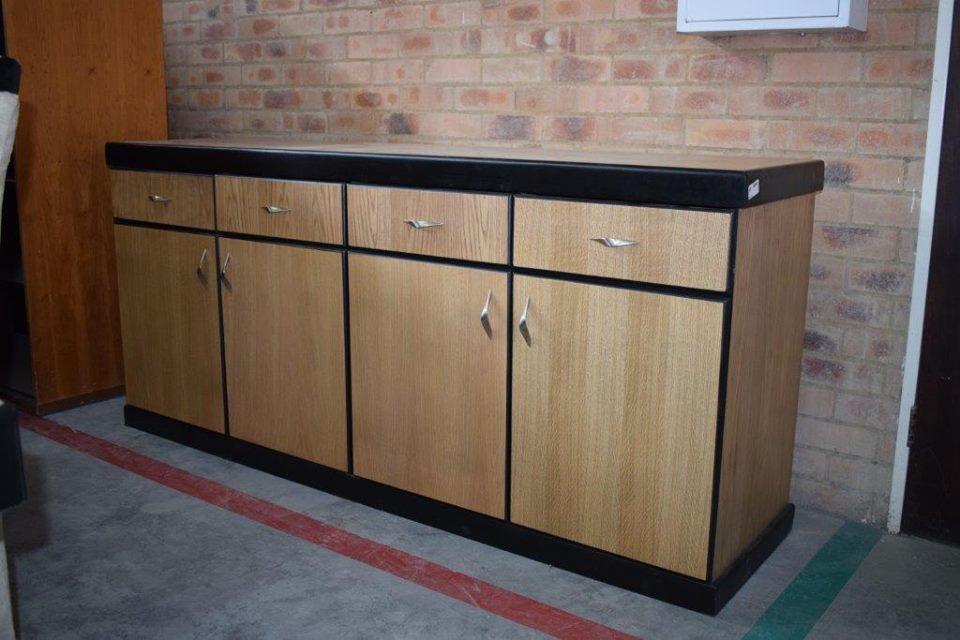 4 Drawer and 4 door light wooden kitchen cabinet