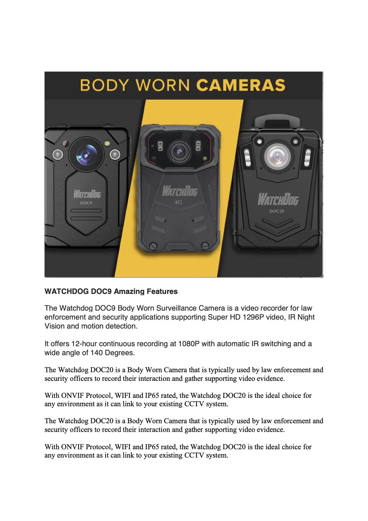 Watchdog body Worn Camera